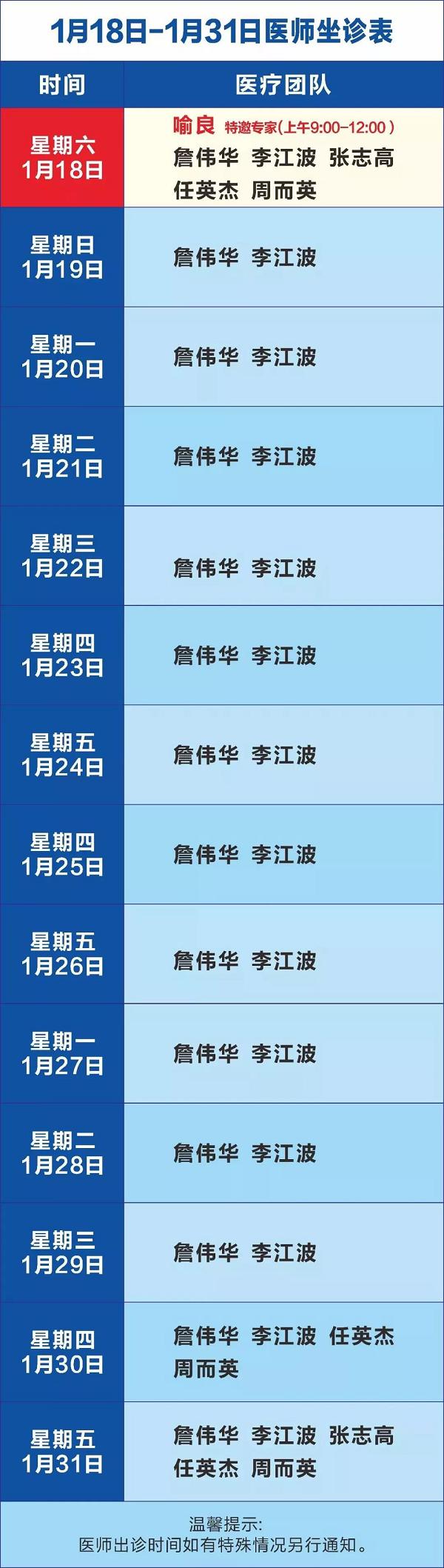 成都神康癫痫医院1月20日-1月31日医生出诊时间安排及援助活动!
